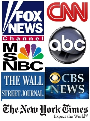 Logos from leading major news organizations.