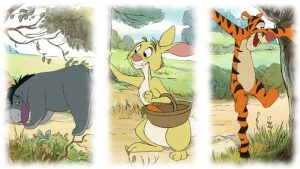 Eeyore, Rabbit, and Tigger from Disney's animated movies based on A. A. Milne's books.