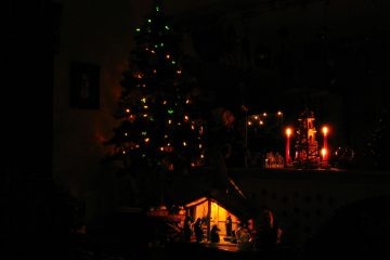 Christmas tree, Nativity, and candles at Christmas