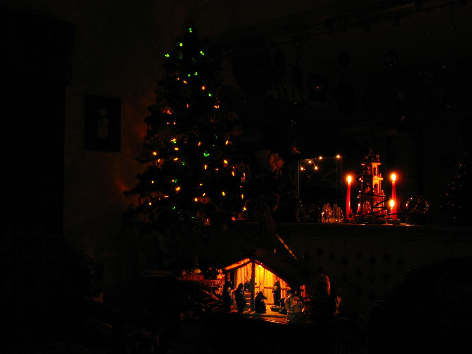 Christmas tree, Nativity, and candles at Christmas