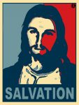 Christianized version of the red and blue 2008 Barack Obama campaign poster.
