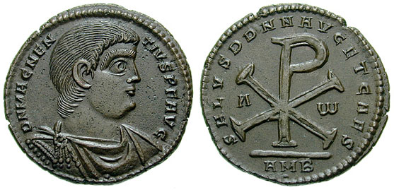 Roman coin displaying the Chi-Rho symbol. Notice the use of Alpha (Α)and Omega (Ω), a reference to Christ Jesus in Revelation 22:13.