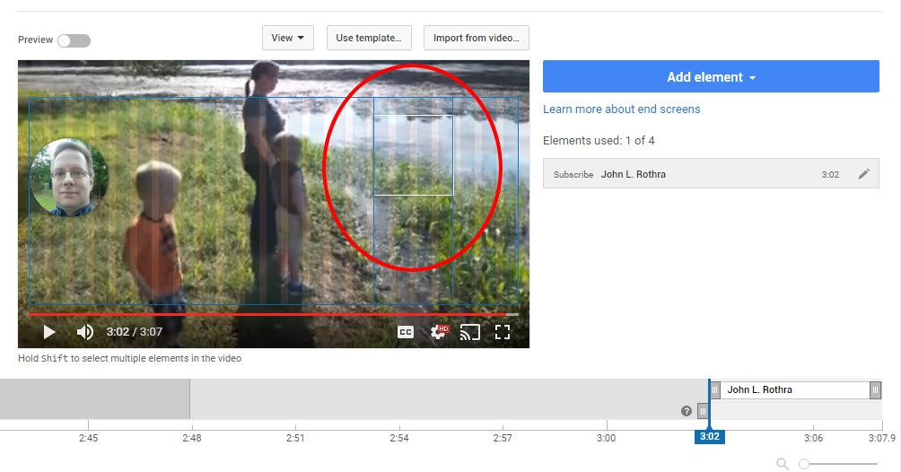 Elements snap only to the darker bars, not the lighter bars, when creating an end screen in YouTube.