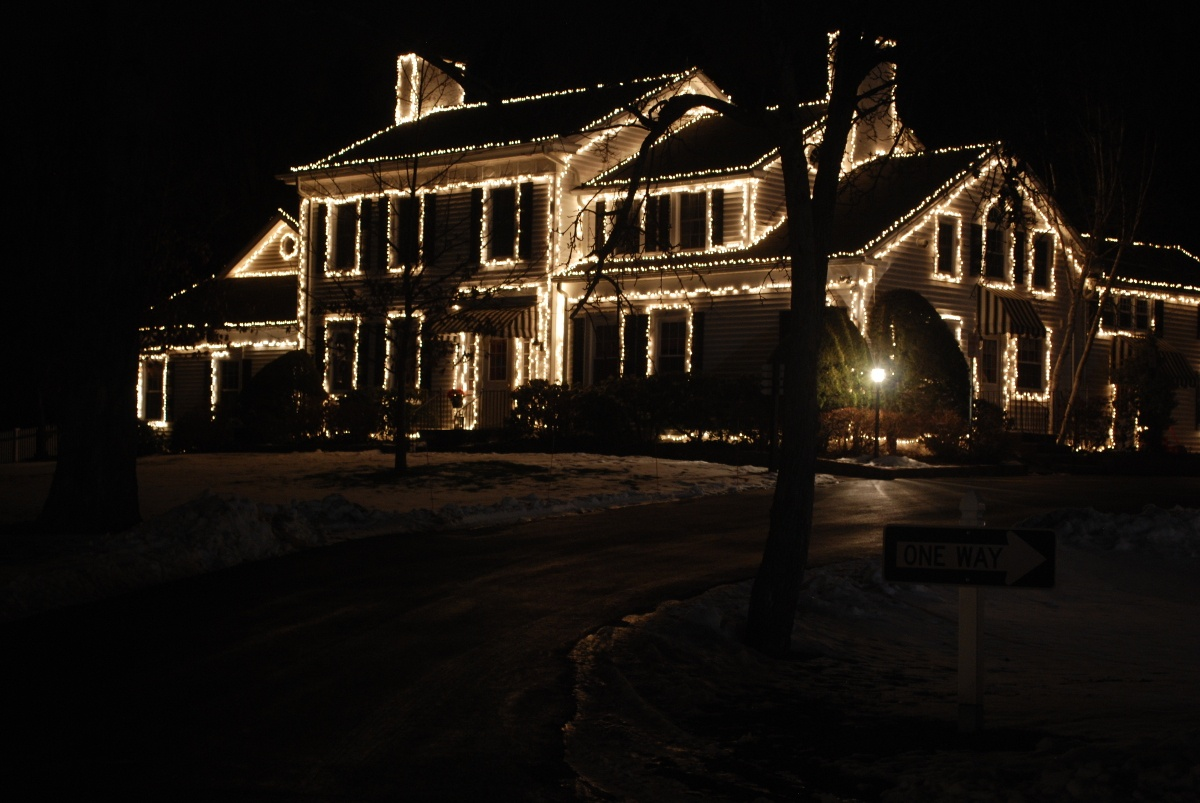 This is an example of an amateur white on white Christmas light display.