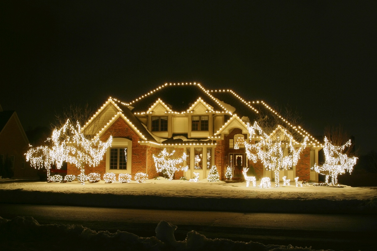 This is an example of a professional style white on white Christmas light display.