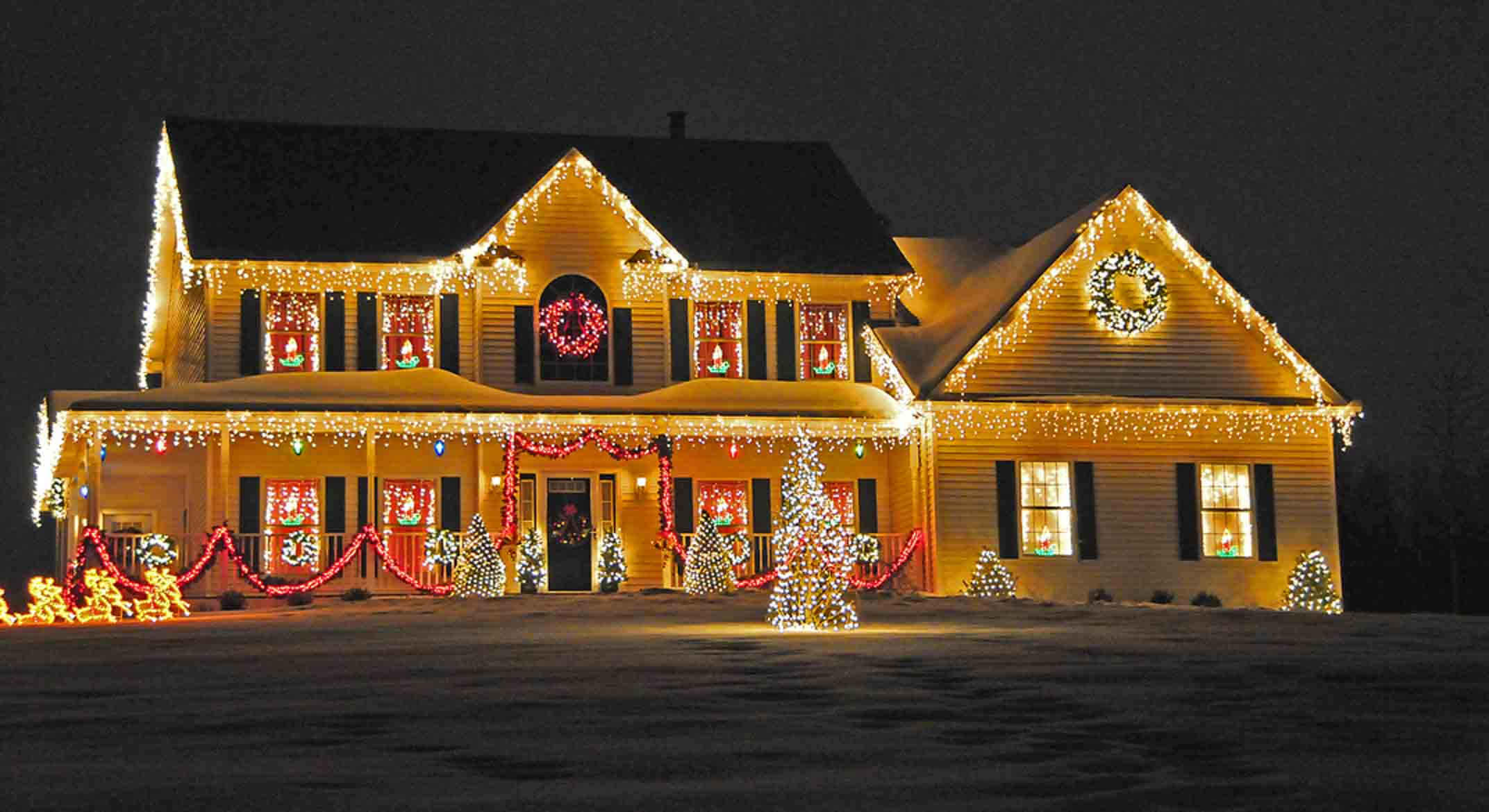 An example of using Christmas lights to create art.