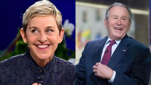 Ellen DeGeneres and President George W. Bush