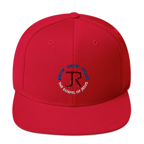 red flat brim snapback hat with JR logo and know show share the gospel of Jesus
