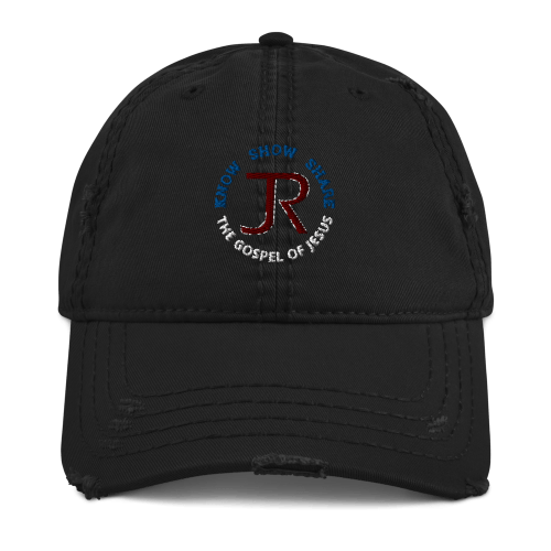 Black distressed baseball cap with JR logo and Know Show Share the gospel of Jesus
