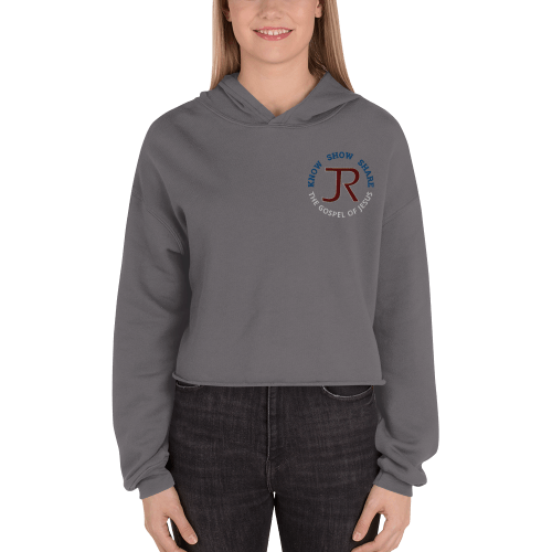 women wearing dark gray fleece cropped hoodie with JR logo and know show share the gospel of Jesus