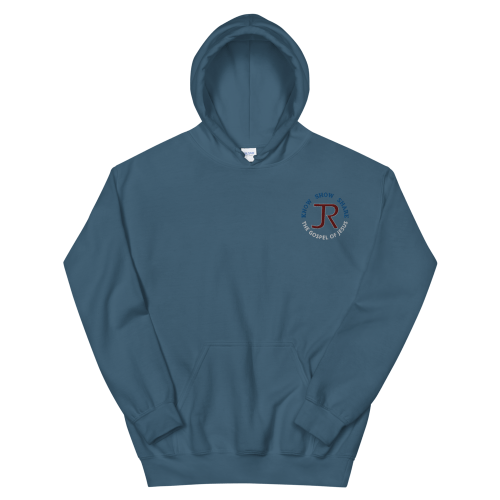 slate blue fleece pullover hoodie with JR logo and know show share the gospel of Jesus