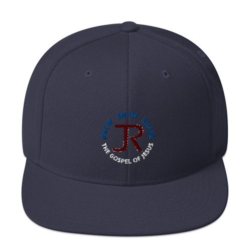 navy blue flat brim snapback hat with JR logo and know show share the gospel of Jesus