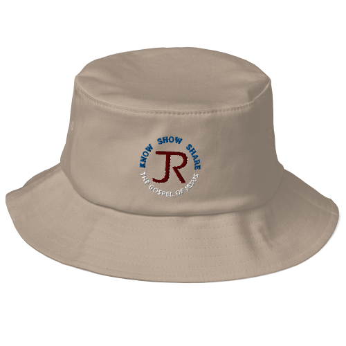 Khaki fishing bucket hat with JR logo and Know Show Share the gospel of Jesus