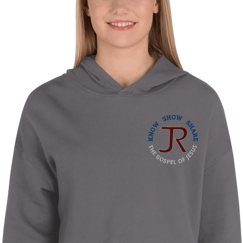 woman wearing dark gray fleece cropped hoodie with JR logo and know show share the gospel of Jesus