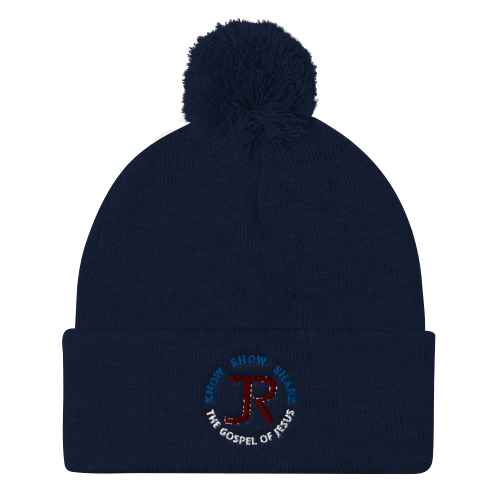 Navy blue pom-pom beanie with JR logo and Know Show Share the gospel of Jesus