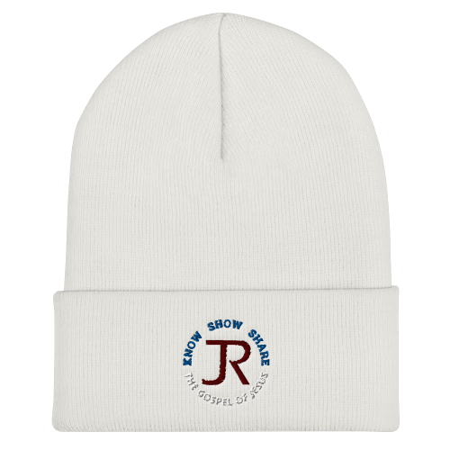 White cuffed beanie with JR logo and Know Show Share the gospel of Jesus