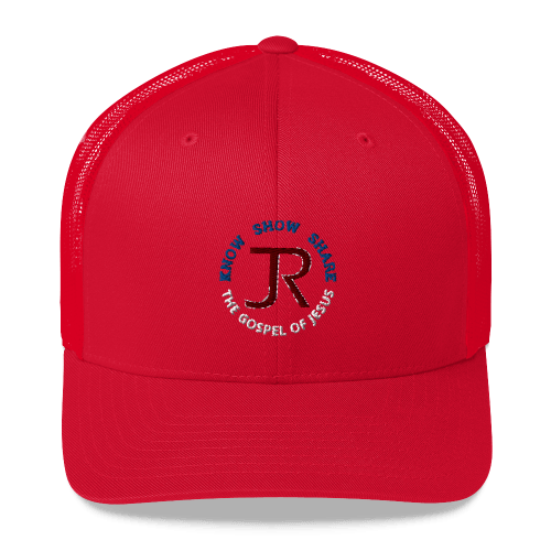 red trucker hat with JR logo and know show share the gospel of Jesus
