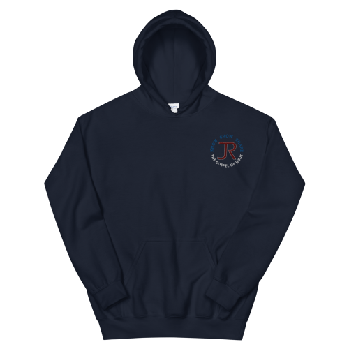 navy blue fleece pullover hoodie with JR logo and know show share the gospel of Jesus