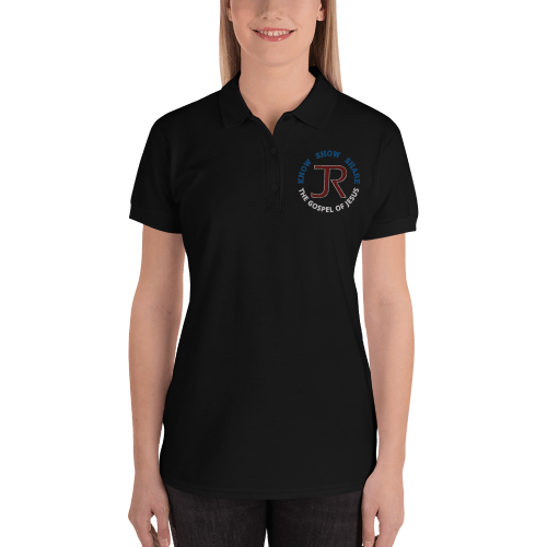 woman wearing black short sleeve polo shirt with JR logo and know show share the gospel of Jesus