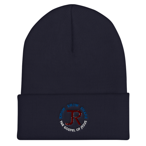 Navy blue cuffed beanie with JR logo and Know Show Share the gospel of Jesus