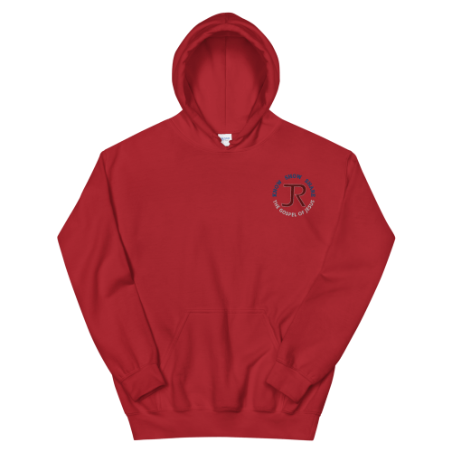 Red pull-over hoodie with with JR logo and Know Show Share the gospel of Jesus embroidered