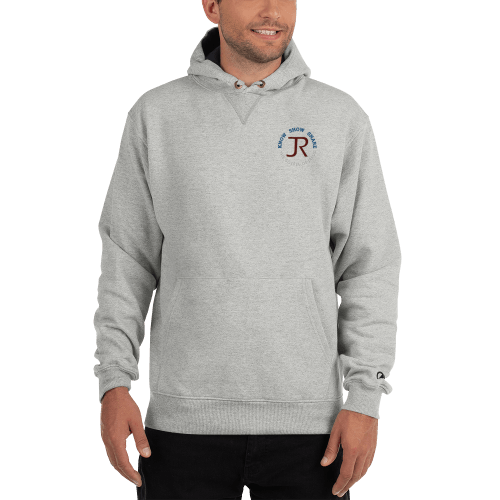 man wearing light gray Champion fleece hoodie with JR logo and know show share gospel of Jesus