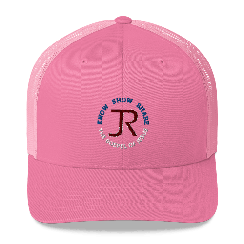 pink trucker hat with JR logo and know show share the gospel of Jesus