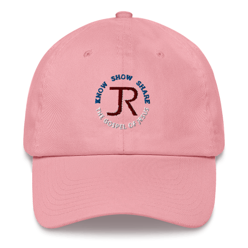 pink dad hat with JR logo and know show share the gospel of Jesus