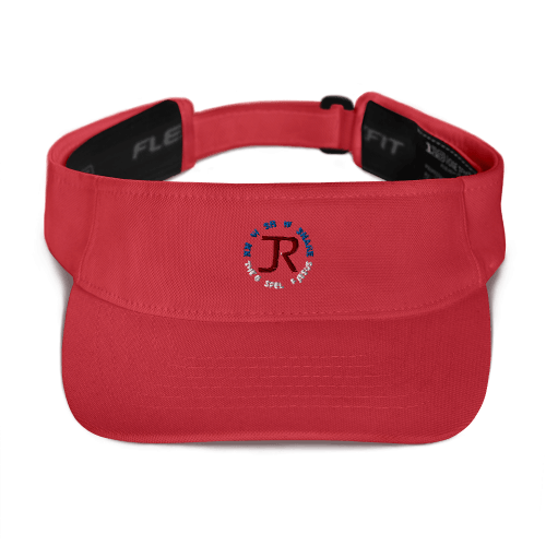 Red sports visor with JR logo and Know Show Share the gospel of Jesus