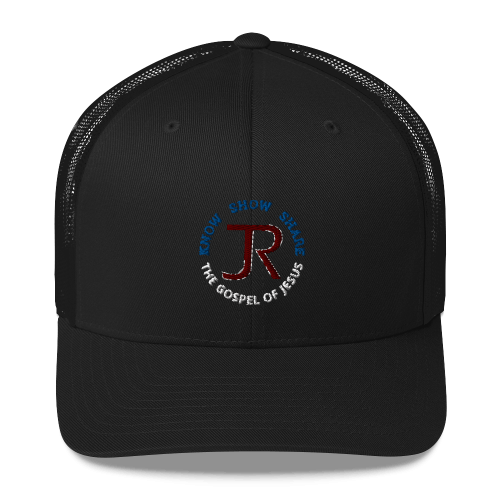 black trucker hat with JR logo and know show share the gospel of Jesus