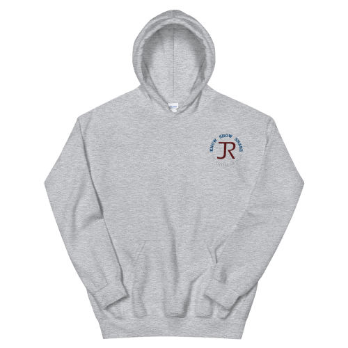 light gray fleece pullover hoodie with JR logo and know show share the gospel of Jesus