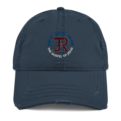 Navy blue distressed baseball cap with JR logo and Know Show Share the gospel of Jesus