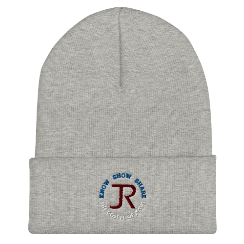Light gray cuffed beanie with JR logo and Know Show Share the gospel of Jesus