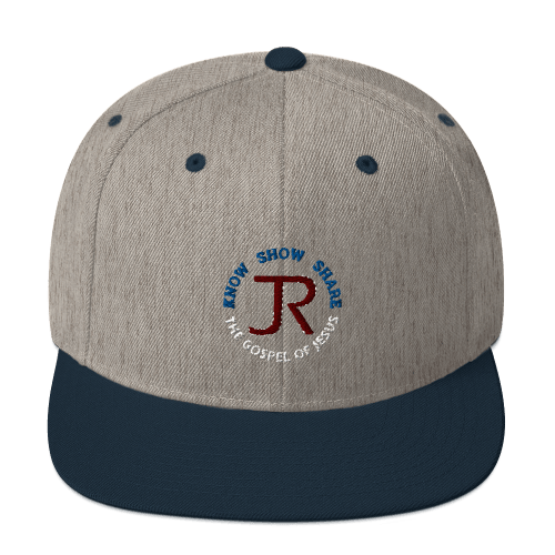 heather gray and navy blue flat brim snapback hat with JR logo and know show share the gospel of Jesus