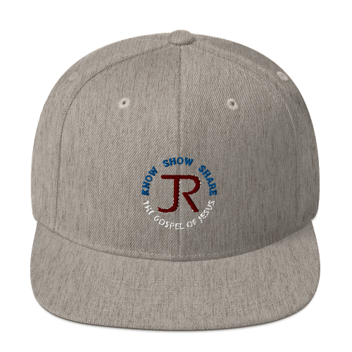 heather gray flat brim snapback hat with JR logo and know show share the gospel of Jesus