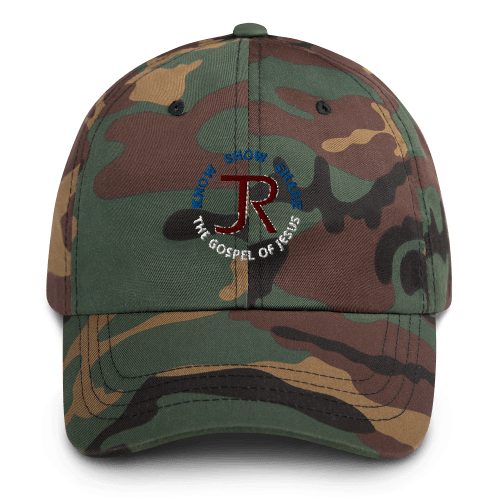 camouflage dad hat with JR logo and know show share the gospel of Jesus