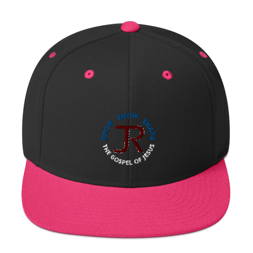 black and pink flat brim snapback hat with JR logo and know show share the gospel of Jesus