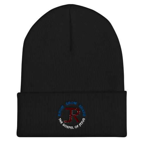 Black cuffed beanie with JR logo and Know Show Share the gospel of Jesus
