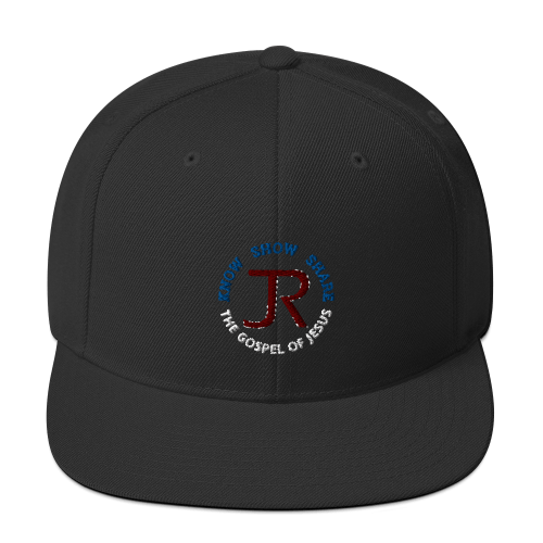 black flat brim snapback hat with JR logo and know show share the gospel of Jesus