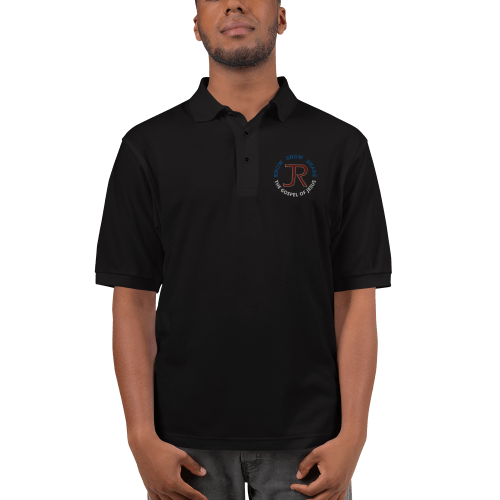 man wearing black short sleeve polo shirt with JR logo and know show share the gospel of Jesus