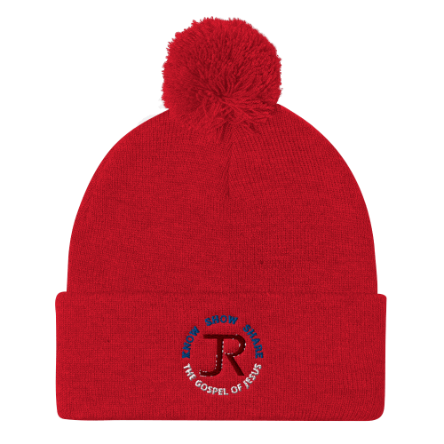 Red pom-pom beanie with JR logo and Know Show Share the gospel of Jesus