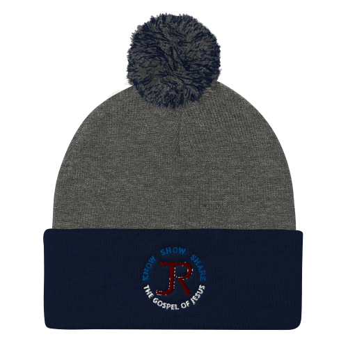 gray and navy blue pom pom beanie with JR logo and know show share the gospel of Jesus
