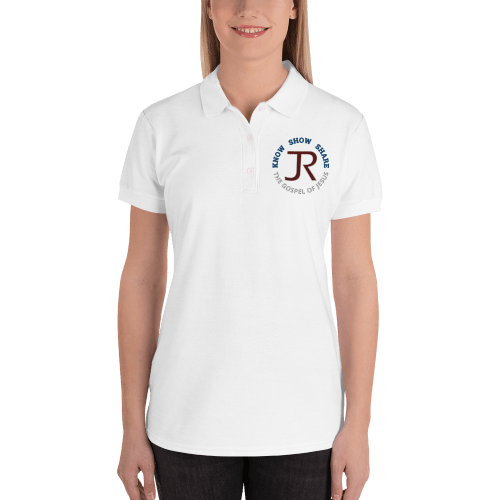 woman wearing white short sleeve polo shirt with JR logo and know show share the gospel of Jesus