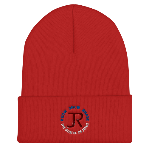 Red cuffed beanie with JR logo and Know Show Share the gospel of Jesus