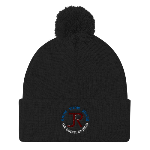 Black pom-pom beanie with JR logo and Know Show Share the gospel of Jesus