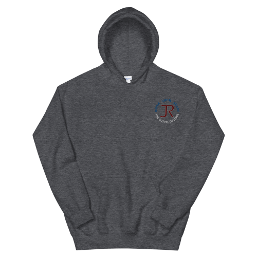 dark gray fleece pullover hoodie with JR logo and know show share the gospel of Jesus