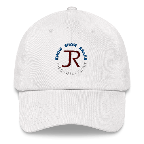 white dad hat with JR logo and know show share the gospel of Jesus