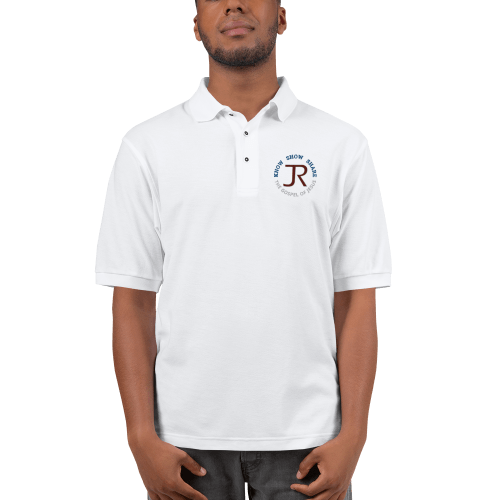 man wearing white short sleeve polo shirt with JR logo and know show share the gospel of Jesus