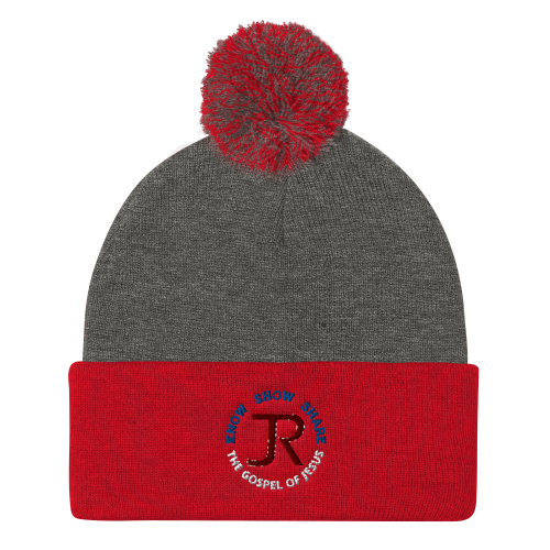 Red and gray pom-pom beanie with JR logo and Know Show Share the gospel of Jesus