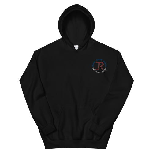 black fleece pullover hoodie with JR logo and know show share the gospel of Jesus